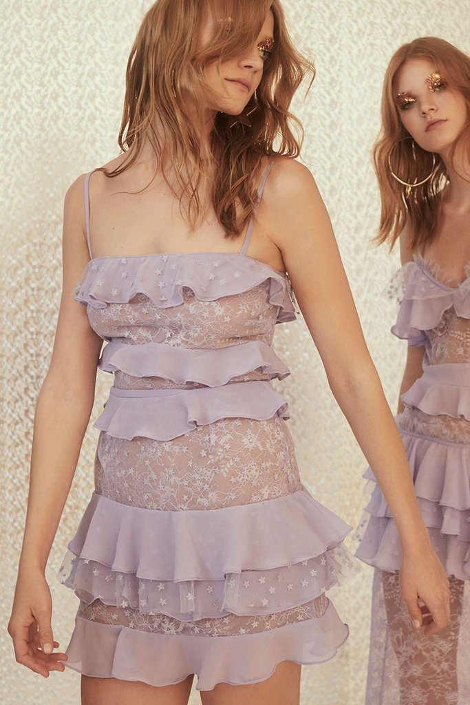 061508f61399 FOR LOVE AND LEMONS COSMIC TIERED LACE DRESS LILAC